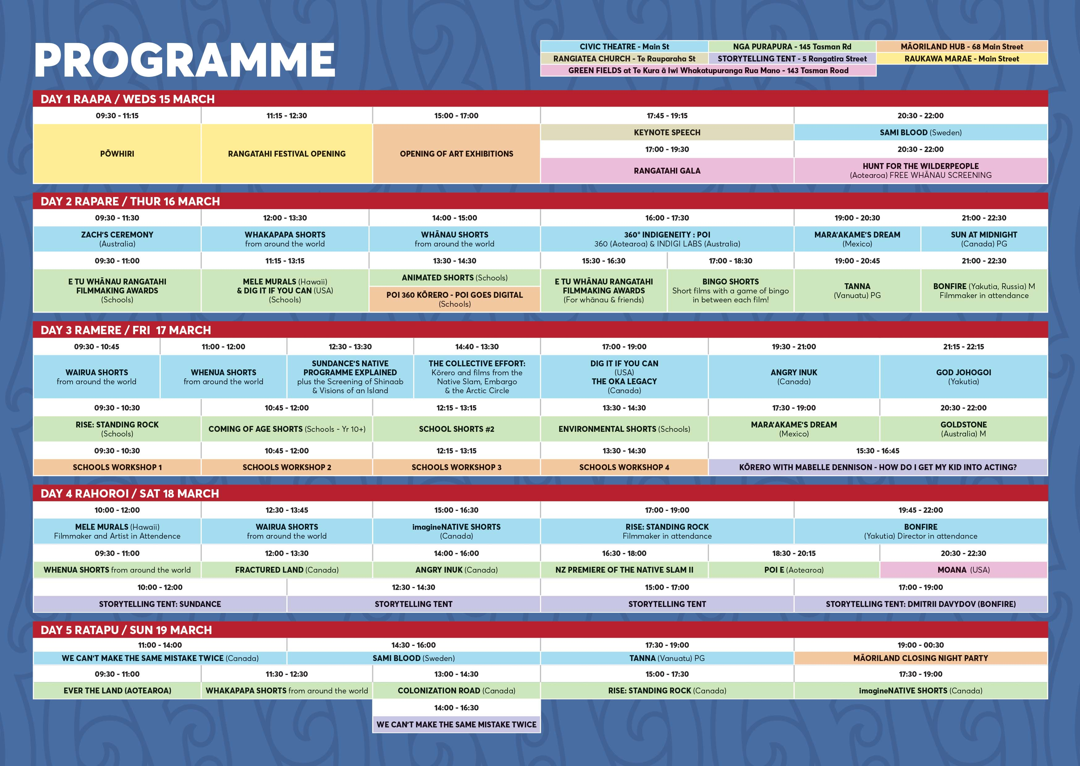 2017 Timetable