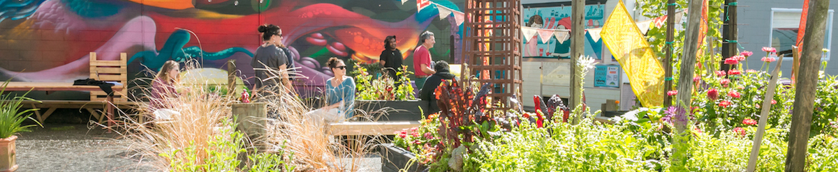Garden at the Māoriland Hub - people are pictured sitting outside amongst the plants